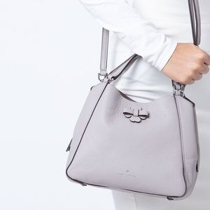 Soft Taupe Small Triple Compartment Satchel